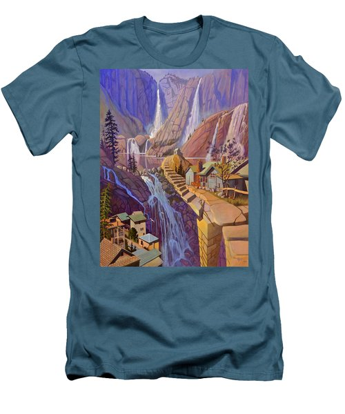 Men's T-Shirt (Slim Fit) featuring the painting Fibonacci Stairs by Art James West