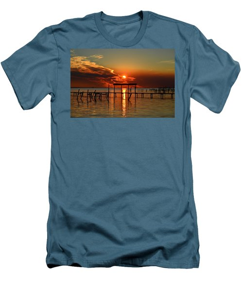 Fiery Sunset Colors Over Santa Rosa Sound Men's T-Shirt (Slim Fit) by Jeff at JSJ Photography
