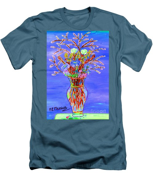 Men's T-Shirt (Slim Fit) featuring the painting Fiori by Loredana Messina