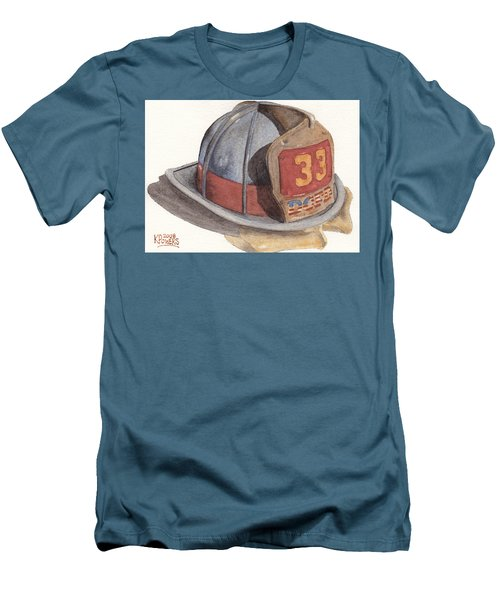 Firefighter Helmet With Melted Visor Men's T-Shirt (Athletic Fit)