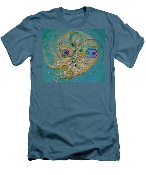 Men's T-Shirt (Slim Fit) featuring the mixed media Fried Egg Head Over Queasy by Douglas Fromm