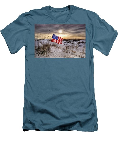 Flag On The Beach Men's T-Shirt (Slim Fit) by Michael Thomas