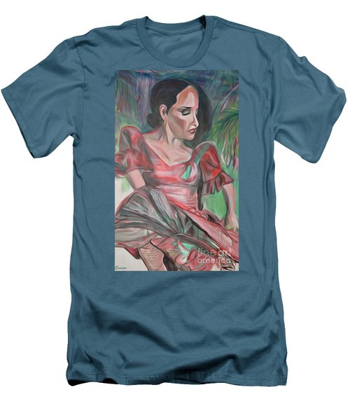 Men's T-Shirt (Slim Fit) featuring the painting Flamenco Solo by Ecinja Art Works