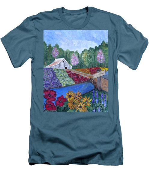 Men's T-Shirt (Slim Fit) featuring the painting Flower Farm -poppies Daisies Lavender Whimsical Painting by Ella Kaye Dickey