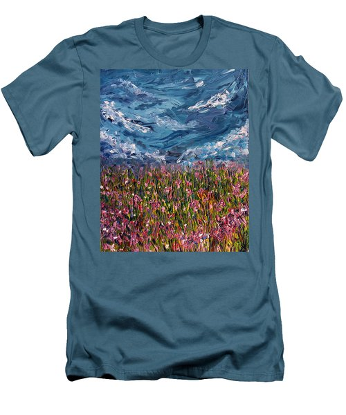 Men's T-Shirt (Slim Fit) featuring the painting Flowers Of The Field by Meaghan Troup