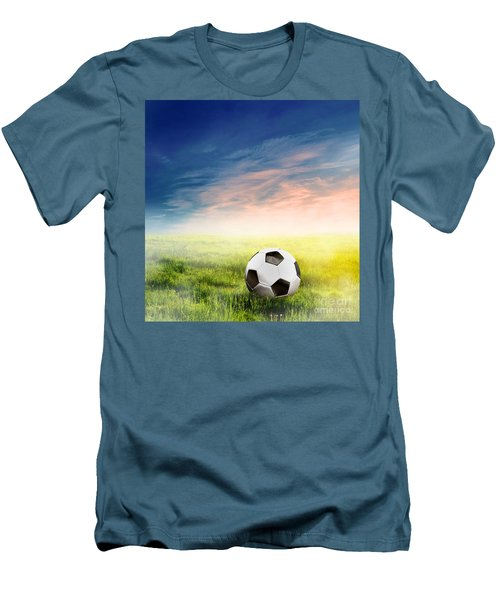 Football Soccer Ball On Green Grass Men's T-Shirt (Athletic Fit)