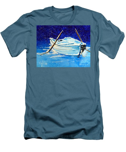 Men's T-Shirt (Slim Fit) featuring the painting Forgotten Rowboat by Jackie Carpenter