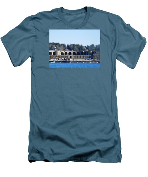 Fort Popham In Maine Men's T-Shirt (Slim Fit) by Catherine Gagne