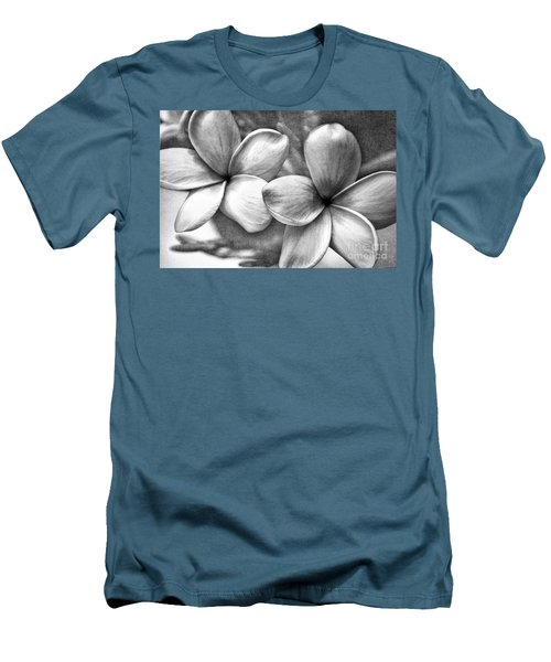 Men's T-Shirt (Slim Fit) featuring the photograph Frangipani In Black And White by Peggy Hughes