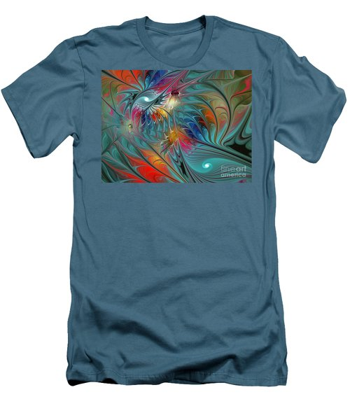 Fresh Mints And Cool Blues-abstract Fractal Art Men's T-Shirt (Athletic Fit)