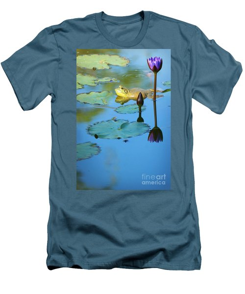 Men's T-Shirt (Slim Fit) featuring the photograph Frog And Lily by Ellen Cotton