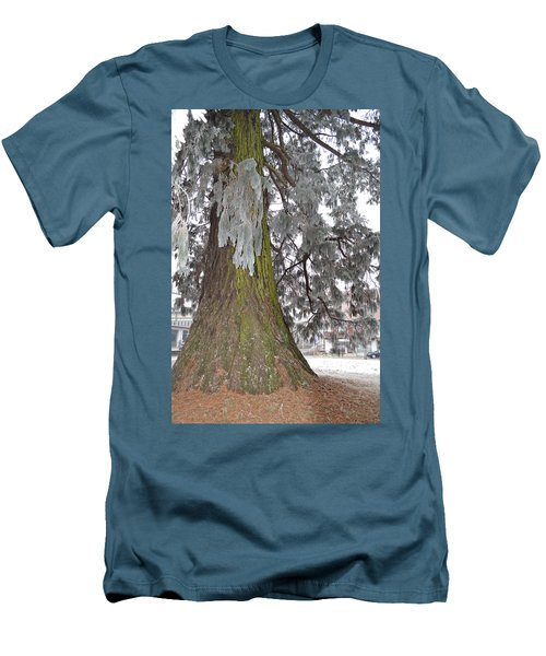 Men's T-Shirt (Slim Fit) featuring the photograph Frost On The Leaves by Felicia Tica