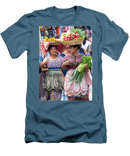 Fruit Sellers In Antigua Guatemala Men's T-Shirt (Slim Fit) by David Smith
