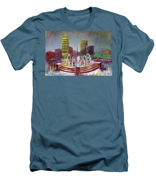 Fun In The Fountain In Asheville Men's T-Shirt (Slim Fit) by Gray  Artus