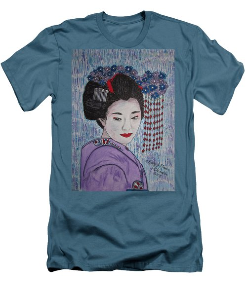 Men's T-Shirt (Slim Fit) featuring the painting Geisha Girl by Kathy Marrs Chandler