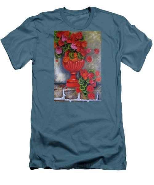 Geranium Men's T-Shirt (Slim Fit) by Katia Aho