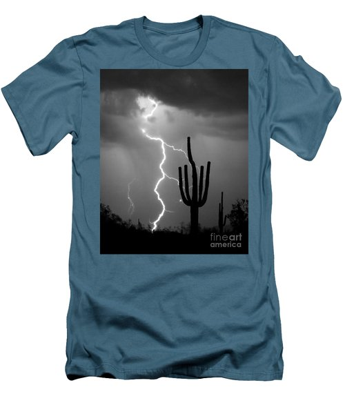 Giant Saguaro Cactus Lightning Strike Bw Men's T-Shirt (Athletic Fit)