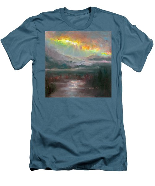 Gold Lining - Chugach Mountain Range En Plein Air Men's T-Shirt (Athletic Fit)