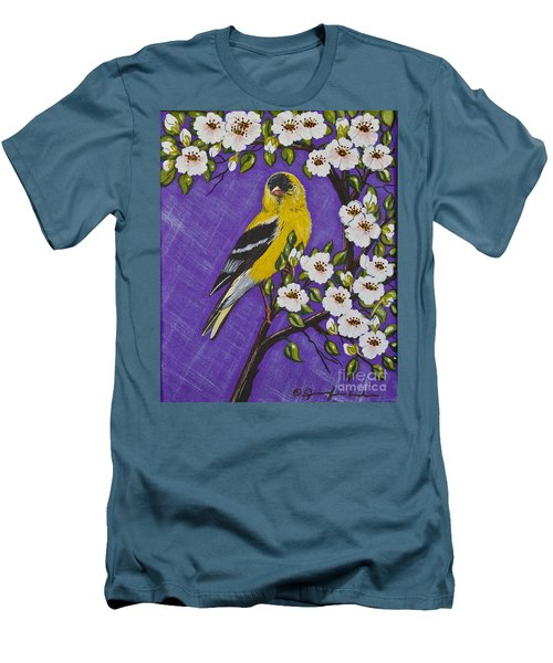 Men's T-Shirt (Slim Fit) featuring the painting Goldfinch In Pear Blossoms by Jennifer Lake
