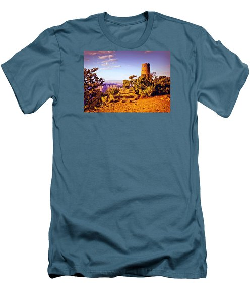 Men's T-Shirt (Slim Fit) featuring the painting Grand Canyon National Park Golden Hour Watchtower by Bob and Nadine Johnston