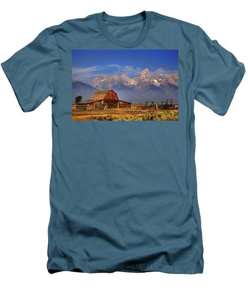 Grand Tetons From Moulton Barn Men's T-Shirt (Slim Fit) by Alan Vance Ley