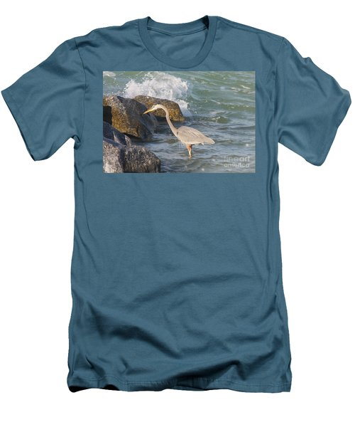 Great Blue Heron On The Prey Men's T-Shirt (Slim Fit) by Christiane Schulze Art And Photography