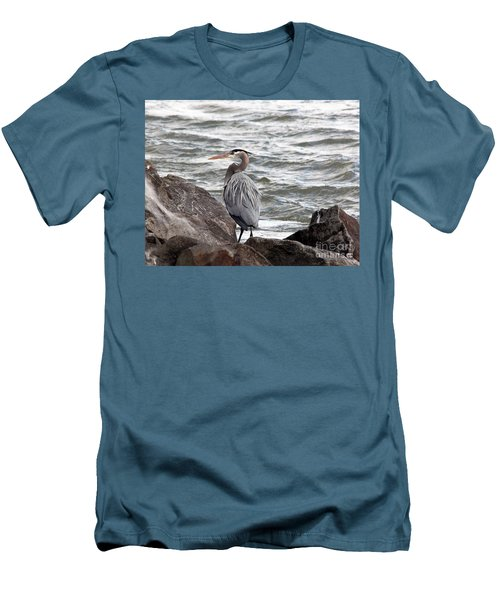 Men's T-Shirt (Slim Fit) featuring the photograph Great Blue Heron by Trina  Ansel