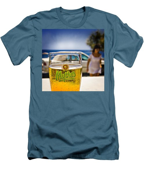 Greek Beer Goggles Men's T-Shirt (Slim Fit) by Meirion Matthias