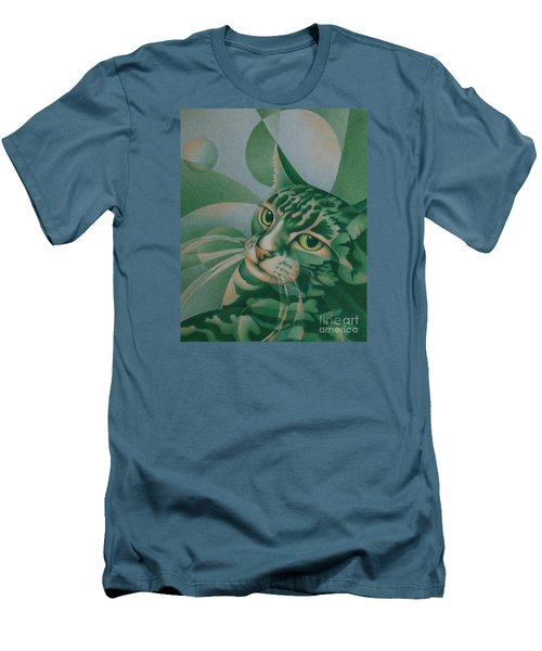 Men's T-Shirt (Slim Fit) featuring the painting Green Feline Geometry by Pamela Clements