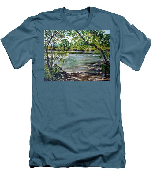 Green Hill Park On The Roanoke River Men's T-Shirt (Slim Fit) by Julie Brugh Riffey