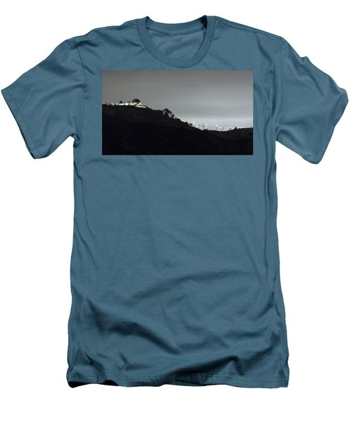 Griffith Park Observatory And Los Angeles Skyline At Night Men's T-Shirt (Athletic Fit)
