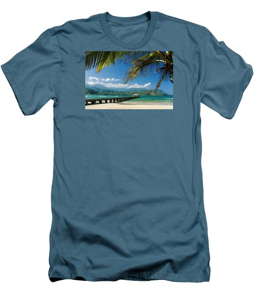Hanalei Pier And Beach Men's T-Shirt (Athletic Fit)