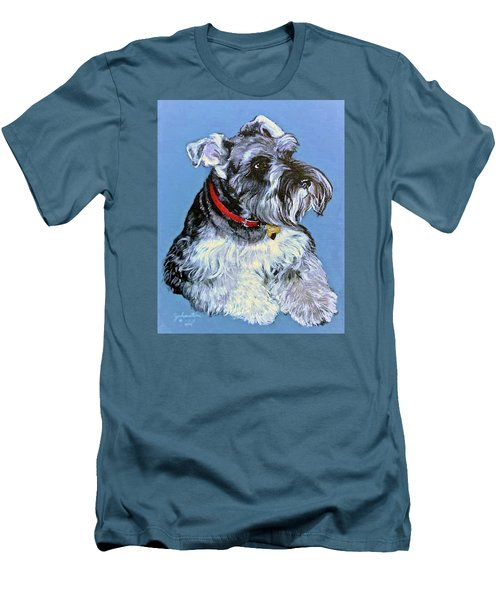 Men's T-Shirt (Slim Fit) featuring the painting Hans The Schnauzer Original Painting Forsale by Bob and Nadine Johnston