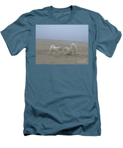 Happy Girls Beach Side Men's T-Shirt (Slim Fit) by Fiona Kennard