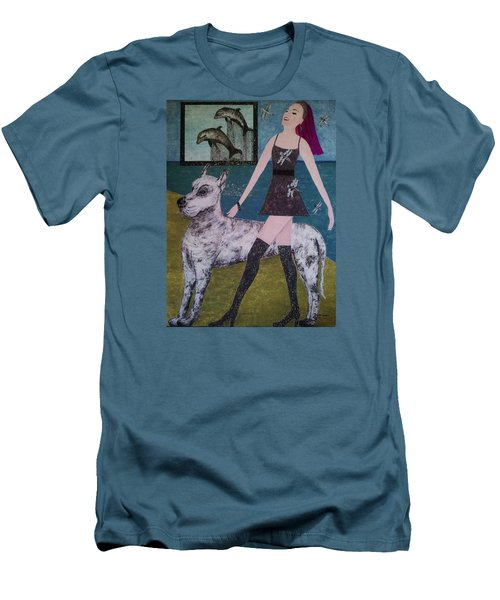 Men's T-Shirt (Slim Fit) featuring the painting Happy Walk By Jasna Gopic by Jasna Gopic