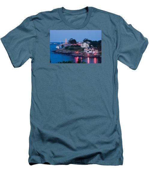 Marblehead Harbor Illumination Men's T-Shirt (Slim Fit) by Jeff Folger