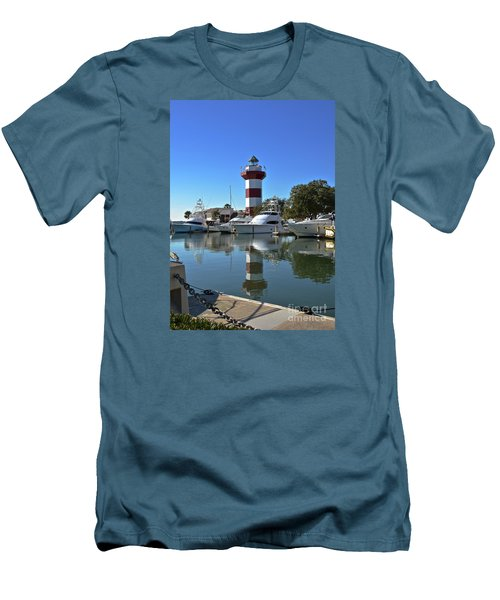 Harbor Town Lighthouse Men's T-Shirt (Slim Fit) by Carol  Bradley