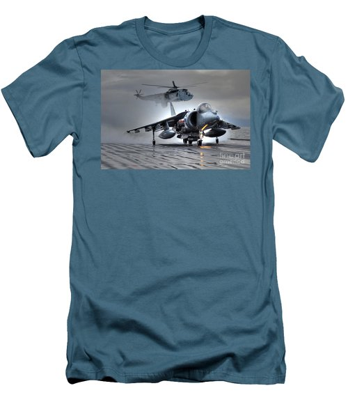 Harrier Gr9 Takes Off From Hms Ark Royal For The Very Last Time Men's T-Shirt (Slim Fit) by Paul Fearn