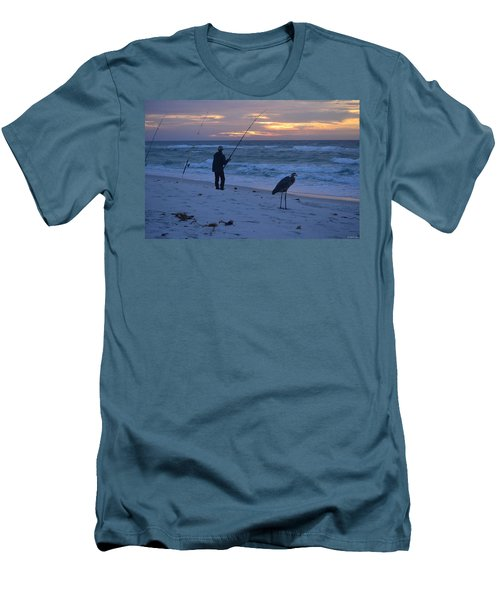 Harry The Heron Fishing With Fisherman On Navarre Beach At Sunrise Men's T-Shirt (Slim Fit) by Jeff at JSJ Photography