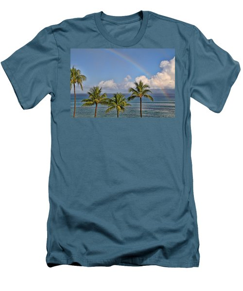 Hawaii Rainbow Men's T-Shirt (Slim Fit) by Peggy Collins