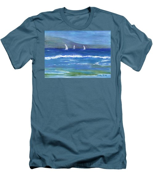 Men's T-Shirt (Slim Fit) featuring the painting Hawaiian Sail by Jamie Frier