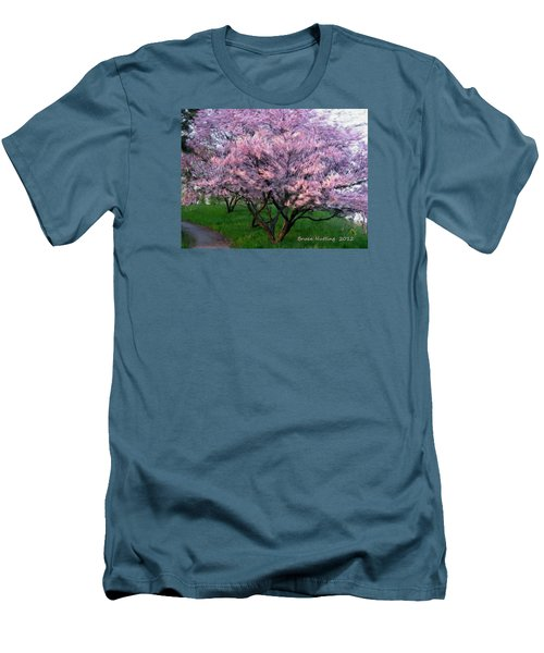 Men's T-Shirt (Slim Fit) featuring the painting Heartfelt Cherry Blossoms by Bruce Nutting