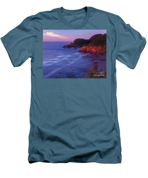 Men's T-Shirt (Slim Fit) featuring the photograph Heceta Head Lighthouse At Sunset Oregon Coast by Dave Welling