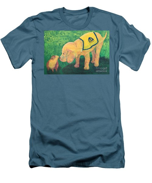 Men's T-Shirt (Slim Fit) featuring the painting Hello - Cci Puppy Series by Donald J Ryker III