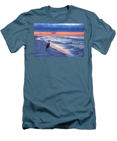Heron On Mobile Beach Men's T-Shirt (Slim Fit) by Michael Thomas