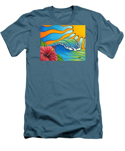 Hibiscus Wave Men's T-Shirt (Athletic Fit)