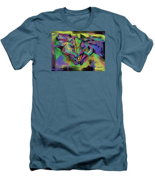 Men's T-Shirt (Slim Fit) featuring the painting Horses Together In Colour by Go Van Kampen