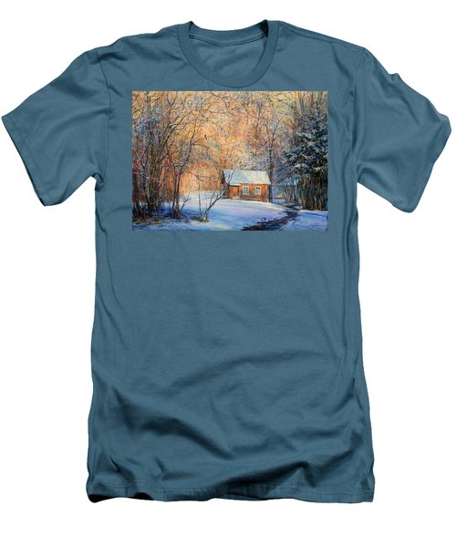 House In The Winter Forest  Men's T-Shirt (Athletic Fit)