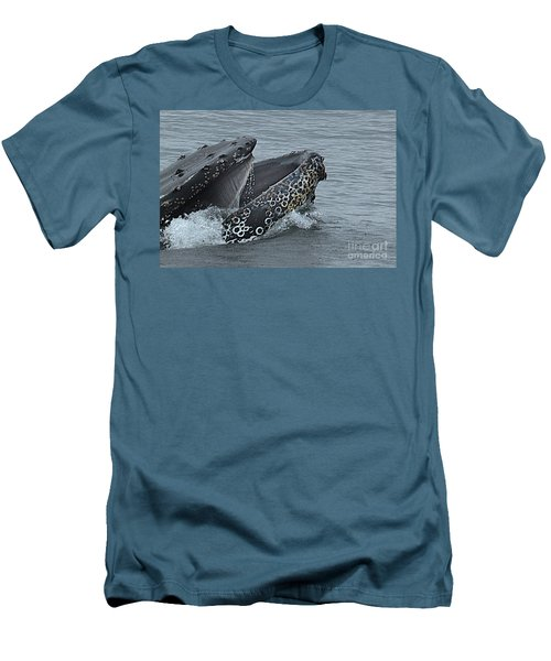 Men's T-Shirt (Slim Fit) featuring the photograph Humpback Whale  Lunge Feeding 2013 In Monterey Bay by California Views Mr Pat Hathaway Archives