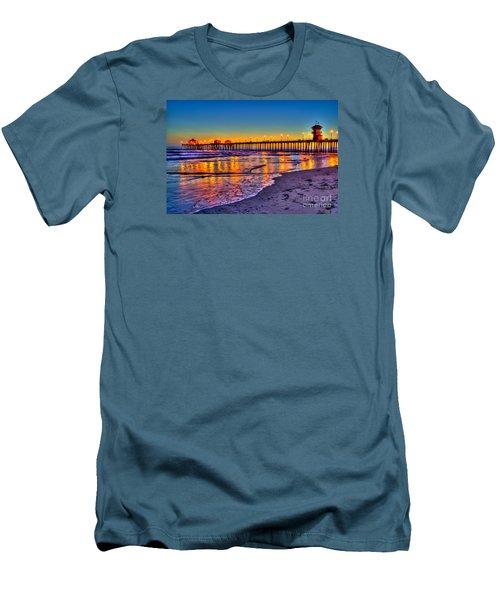 Men's T-Shirt (Slim Fit) featuring the photograph Huntington Beach Pier Sundown by Jim Carrell